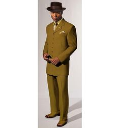 A very retro look.  A nod to the 1940's zoot suit era.  Stacy Adams makes a nice suit for men.