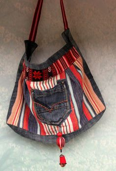 Ethno embroidered denim jeans recycled hip bag with by jamfashion