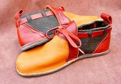 "Handmade Leather Shoes - ""NO SHOES"" bull hide back,elk front, Vibram Sole Deer…"