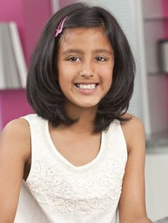 A Medium Black Indian Girls Hairstyle. Choose from our selection of kids hairstyles Little Girl Short Haircuts, Kids Girl Haircuts, Little Girl Hairstyles, Pretty Hairstyles, Medium Layered Hair, Medium Hair Cuts, Short Hair Cuts, Medium Hair Styles, Short Hair Styles