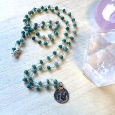 """24"""" Raw Emerald Beaded Necklace with Vintage Seven Sisters Pendant, $65"""