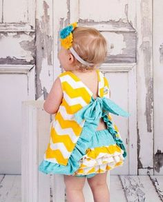Pinafore Top and Ruffle Diaper Cover - Aqua, Yellow, and White Chevron Swing Top - Bloomers - Ruffle Top, this is so cute. Thinking something like this for Naima's birthday My Little Girl, Little Girl Dresses, My Baby Girl, Baby Love, Girls Dresses, Baby Outfits, Toddler Outfits, Kids Outfits, Sewing For Kids
