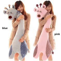 """girafa brinquedo pelúcia tamanho grande 110cm 43"""" bonito travesseiro de estimação longo para meninas dom amigo azul verde rosa frete grátis ..."""
