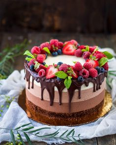 three chocolate mousse cake – The most interesting … – Recipes Cake Decorated With Fruit, Pasta Choux, Chocolate Mousse Cake, Happy Birthday Cakes, Pretty Cakes, Homemade Cakes, Yummy Cakes, Amazing Cakes, Sweet Recipes