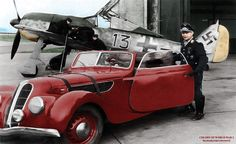"Josef ""Pips"" Priller and his 2 BMW powered machines.. A Focke Wulf 190.. and BMW 327/55"