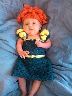 crochet photo prop Disney's Merida from 'Brave' inspired dress and hat set. $35.00, via Etsy.