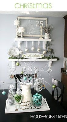 there's a lot going on here... i'm taking the painted branch, the white shabby chic frame and the color scheme... only with more color.