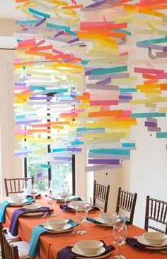 Use the free paint sample strips from DIY stores for party decorations!