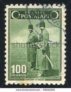 TURKEY- CIRCA 1942: stamp printed by Turkey, shows Ataturk and Inonu, circa 1942 - stock photo