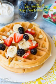 Yogurt Vanilla Bean Waffles - the absolute best waffle recipe around. These homemade waffles are utterly amazing. A great platform for toppings. Breakfast Waffles, Breakfast Items, Breakfast Smoothies, Breakfast Dishes, Eat Breakfast, Breakfast Recipes, Best Waffle Recipe, Waffle Maker Recipes, Crepes