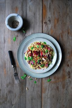 Radicchio and Balsamic Butter Spaghetti with Marjoram and Pine Nuts