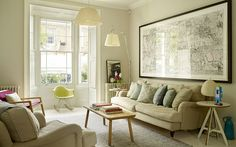 Skimming stone Interiors: a pale and wonderful home in East London - Telegraph Cosy Cottage Living Room, Living Room Bedroom, Bedroom Decor, Hallway Inspiration, Living Room Inspiration, Pale Yellow Bedrooms, Stone Interior, Interior Design, Living Room Shelves