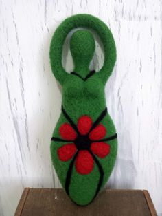 Green Goddess Needle Felted with Red by Birdinatreecreations