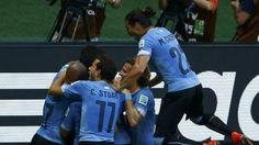 Uruguay's Caceres celebrates after goal scored by Cavani during their 2014 World Cup Group D soccer match against Costa Rica at the Cast...