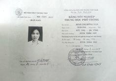 bản sao bằng cấp 3 của Đinh Thị Hồng Vân