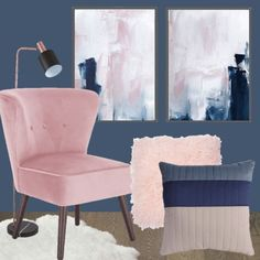 Navy Blue and Pink Bedroom Inspiration. Pink and blue bedroom inspiration moodboard. Blue and pink is such a great colour combination. If you want to redecorate your bedroom, use this navy blue and pink bedroom inspiration to help you make a decision! Blue And Pink Bedroom, Blush Pink Bedroom, Pink Bedroom Decor, Pink Bedrooms, Pink Bedding, Pink Room, Blue Rooms, Bedroom Colors, Bedroom Ideas