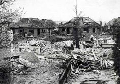 The devastation at Kynaston Road, Orpington where housewife Ivy Millington was killed in her kitchen by Hitler's last V2 rocket.