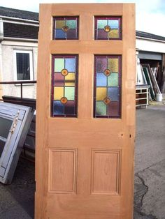 x External Stripped Pine Stained Glass front house Door Front Door Porch, House Front Door, House Doors, Front Doors, Leaded Glass, Stained Glass, Pine Doors, Led Diy, Wood Windows