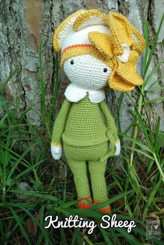 Orchid Ollie flower doll made by Knitting Sheep - crochet pattern by Zabbez