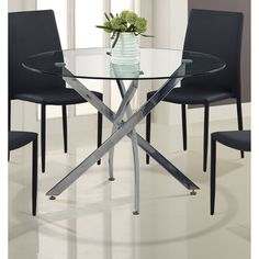 Global Round Dining Table with Glass Top and Geometric