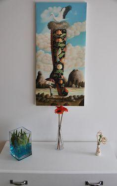 Bota montehermoseña, reproducción de oil on canvas en 40x80cm. Así quedaría puesto en pared en bastidor desnudo.