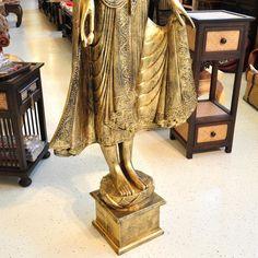 Buddha Thailand Statue schwarz gold verziert stehend 169cm