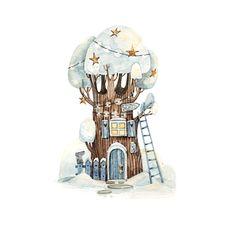 No automatic alt text available. House Illustration, Christmas Illustration, Watercolor Illustration, Watercolor Paintings, Button Art, Christmas Pictures, Beautiful Paintings, Art Studios, Cute Art
