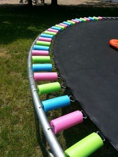 For when your trampoline cover deteriorates. Cover your trampoline springs with pool noodles ~~ Cheap and colorful =)! This is a great idea for all you trampoline owners out there!