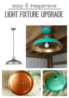 The easiest way to update basic light fixtures!  Spray paint an inexpensive lights can give you a unique and high end look.  Check out the full tutorial.  www.thedempsterlogbook.com