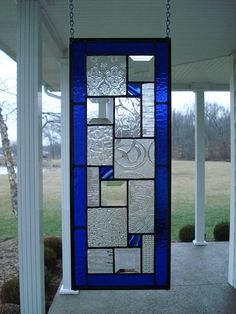 Blue Textured Clears and Beveled Stained Glass by TheGlassShire, $65.00