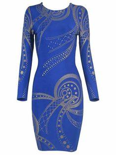 Herve Leger Long Sleeve Gold Printed Bandage Blue Dress