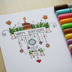 nice happy birthday drawing in bullet journal. Bday Cards, Happy Birthday Cards, Birthday Wishes, Cake Birthday, Happy Birthday Doodles, Diy Birthday, Birthday Greetings, Happy Doodles, Creative Birthday Cards