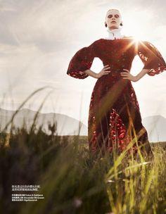 Dolce & Gabbana dress   Harpers Bazaar China December 2013   Stephanie Hall by Dan Smith