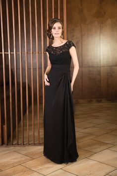 Chic Illusion Floor Length Black Chiffon Mother Of The Bride Dress