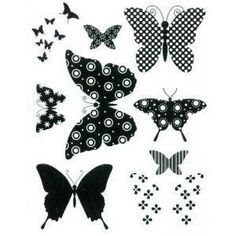 Set de 9 Tampons Clear - Papillons - 5.7 x 8.6 cm