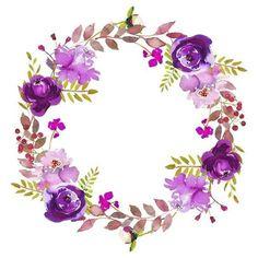 Handmade Crochet by ThirteenViolets Watercolor Projects, Wreath Watercolor, Watercolor Flowers, Watercolor Art, Frame Floral, Flower Frame, Floral Vintage, Vintage Diy, Cute Wallpapers