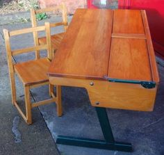 Vintage 1960s Pine Double School Desk & Matching Children's Chairs