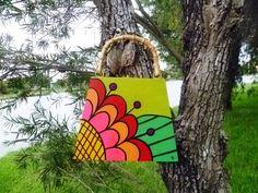 MOD Mexican Flower Hand Painted Cigar Box Purse
