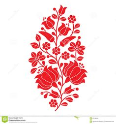 Hungarian Red Folk Pattern - Kalocsai Embroidery With Flowers And Paprika Stock Vector - Image: 62136542
