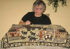 Blissfully hooking a rendition  of an antique rug!-kathy clark hooked rugs, kathy clark rug hooking, briarwood folk art hooked rugs, hooked rugs, hand