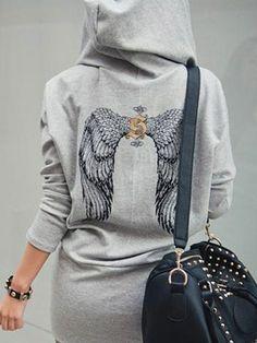 Zanzea® Lady Hooded Casual Sweater Dress