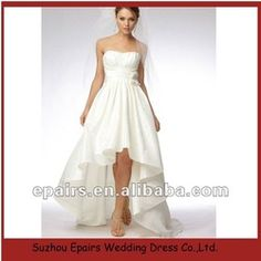 WD104 New Style Satin Empire Short Front and Long Back Wedding Dress