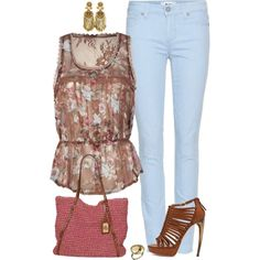 Sheer Chiffon Allover Floral Pattern, Lace Trim Top, Baby Blue Skinny Jeans. Mauve Purse, Brown Shoes