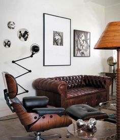 leather chesterfield and classic Eames chair