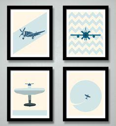 Airplane Print Kids Art Set 8 X 10 Transportation Art Print, Children's Room Art, Kids Wall Art, Nursery Art