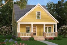 House Plan 72698 - Cottage, Country, Craftsman Style House Plan with 1813 Sq Ft, 4 Bed, 3 Bath Bungalow Style House, Bungalow House Plans, Craftsman Style House Plans, Small House Plans, Cottage Style, Modern Floor Plans, Building A Porch, House With Porch, Loft Spaces