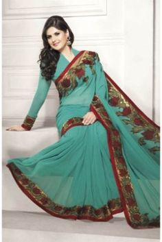 Green Poly Georgette Designer Saree