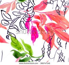 Seamless Pattern Watercolor Art Hand Drawn Pink and Green Leaves with Doodle Drawings - stock photo