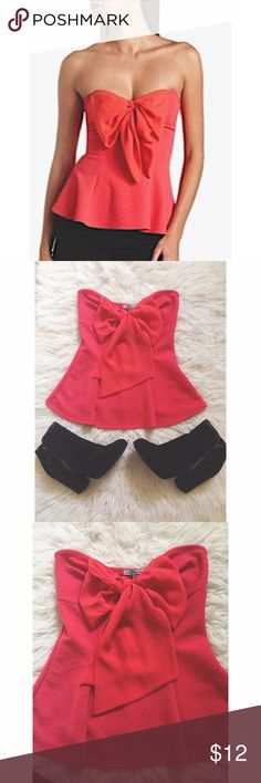 Life Is A Party, Dress Like It Size = XS, coral peplum top, big bow located on front, very cute with high waisted shorts/pants.  ~ I DO NOT SWAP, SO PLEASE DON'T ASK. YOU WILL BE IGNORED.  ~ I NO LONGER HOLD MY ITEMS, FIRST COME FIRST SERVE.   ~YOUR PURCHASE WILL BE SHIPPED WITHIN 24-48 HOURS AFTER PURCHASED, FROM THAT POINT ON I CANNOT CONTROL HOW LONG IT WILL TAKE FOR THE SHIPPING SERVICE TO GET IT TO YOU. *PLEASE BE PATIENT*  ~I AM MORE THAN HAPPY TO MAKE YOU A BUNDLE. Charlotte Russe…