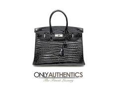Hermès Black Porosus Crocodile 35 Cm Birkin Bag
